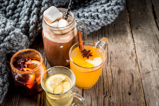 set of 4 autumn drinks - tea hot drink stock photos and pictures