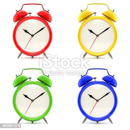 istock Set of 4 colorful alarm clocks 853951276