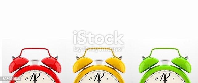 istock Set of 4 colorful alarm clocks 853951566