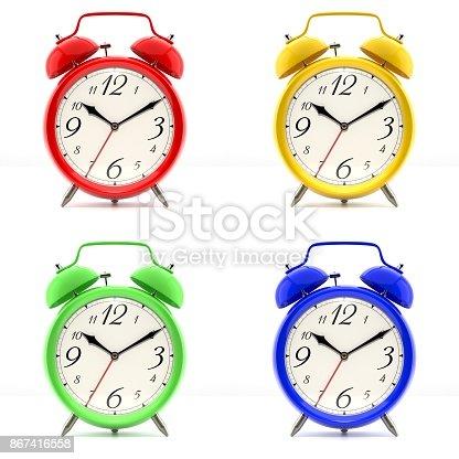 istock Set of 4 colorful alarm clocks 867416558
