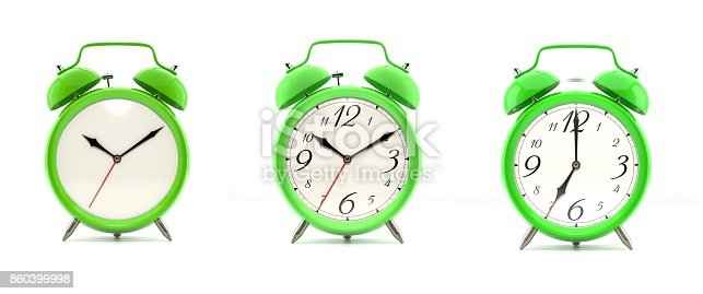 istock Set of 4 green alarm clocks 860399998
