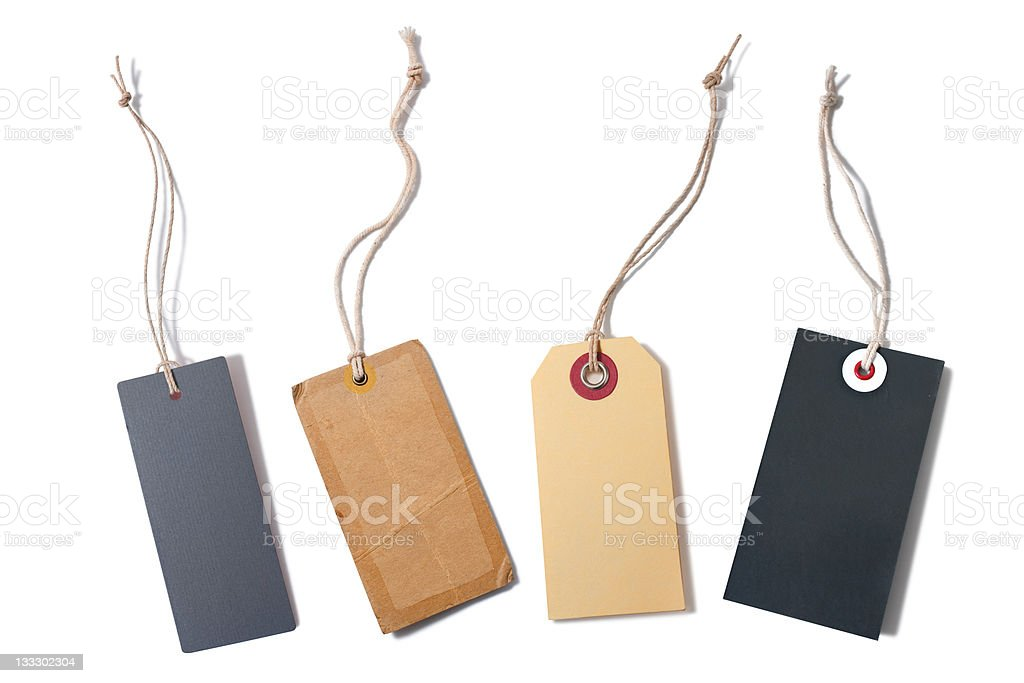Set of 4 paper labels with string stock photo
