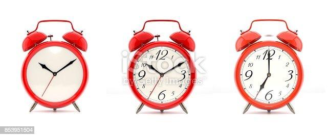 istock Set of 4 red alarm clocks 853951504