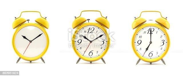 istock Set of 4 yellow alarm clocks 853951624