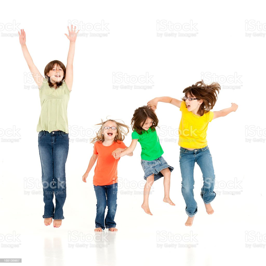 Set of 4 young girls holding hands and jumping royalty-free stock photo