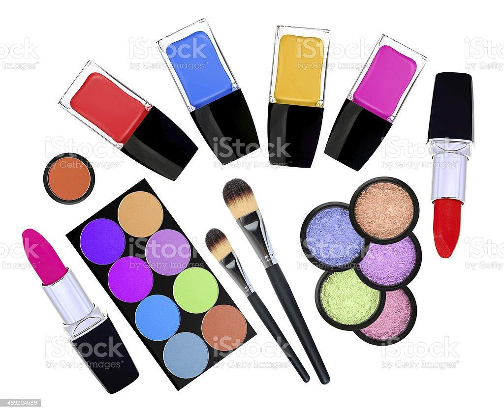 set of 5 eyeshadows, brushes, lipsticks and nailpolishes isolate royalty-free stock photo