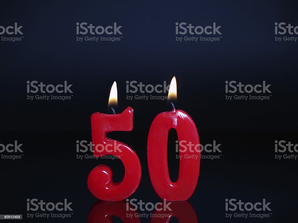 Set of 50th anniversary or birthday red candles stock photo