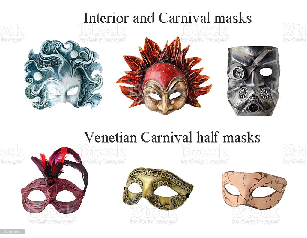 Set of 6 Handmade Interior and carnaval masks stock photo