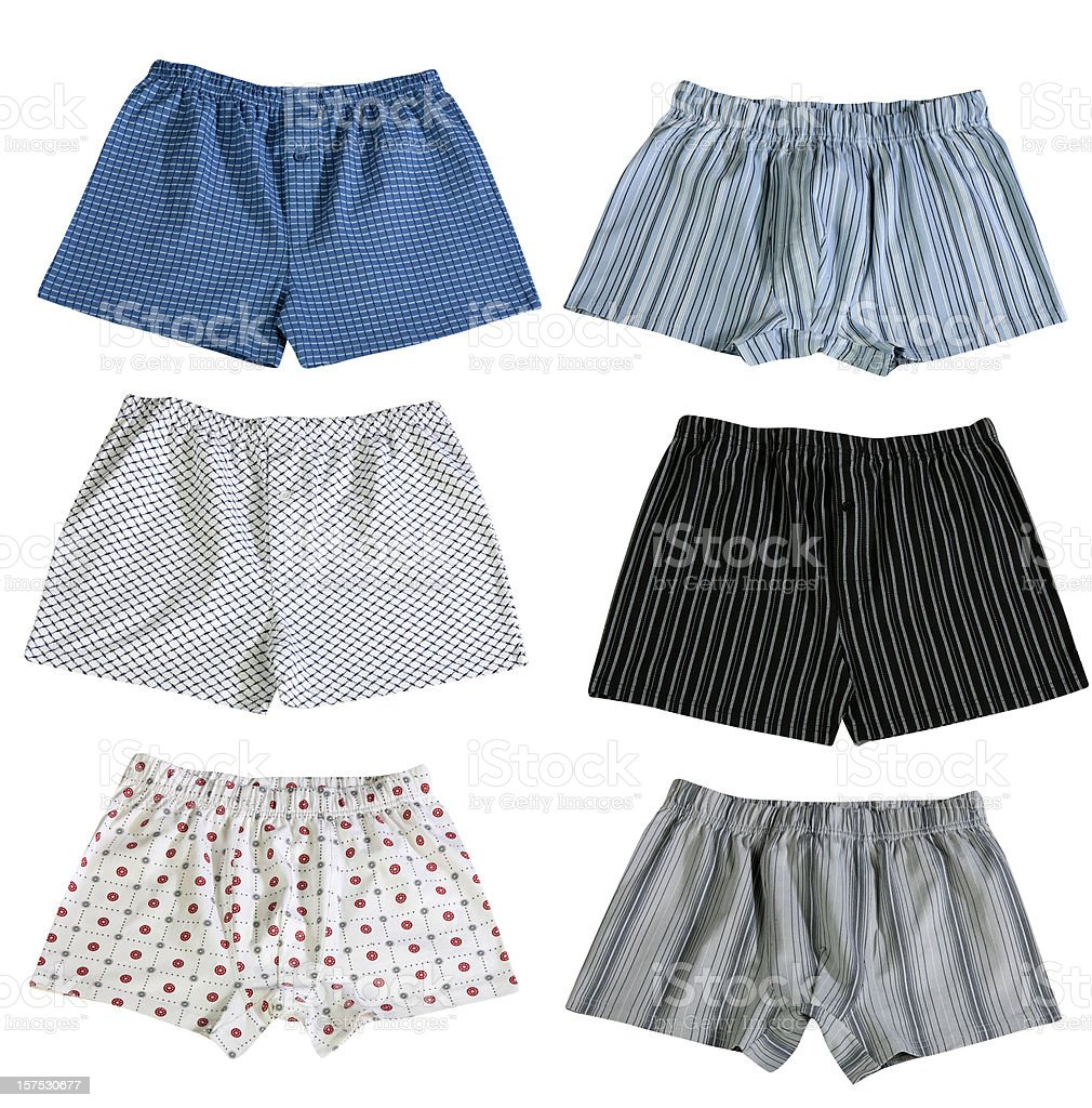 Set of 6 pairs of men's boxer shorts isolated on white stock photo