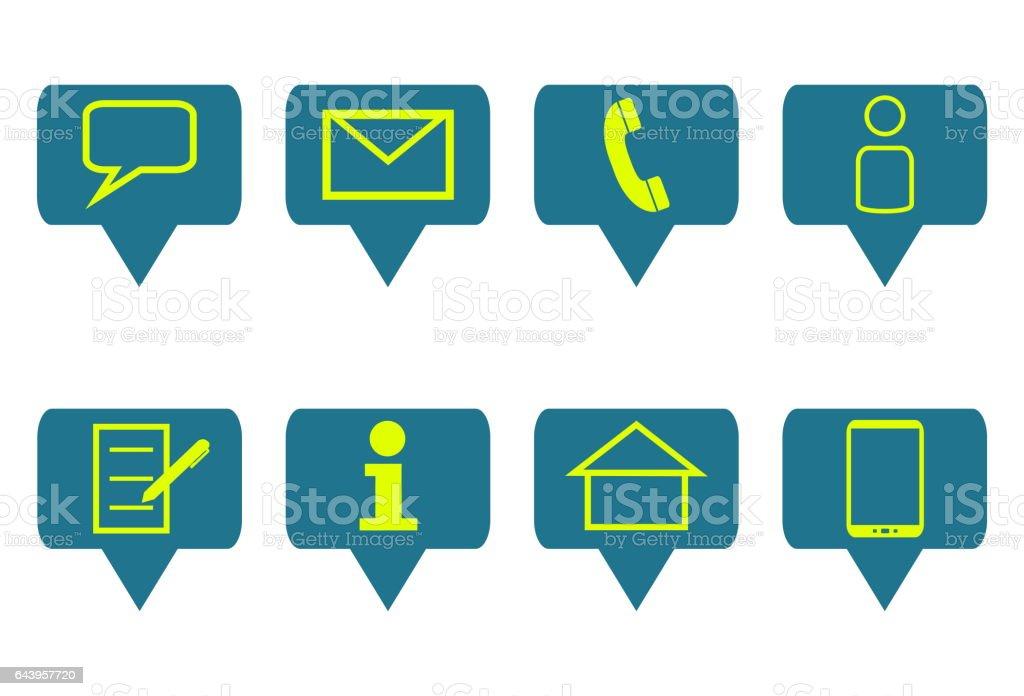 Set of 8 Symbols for Communication stock photo
