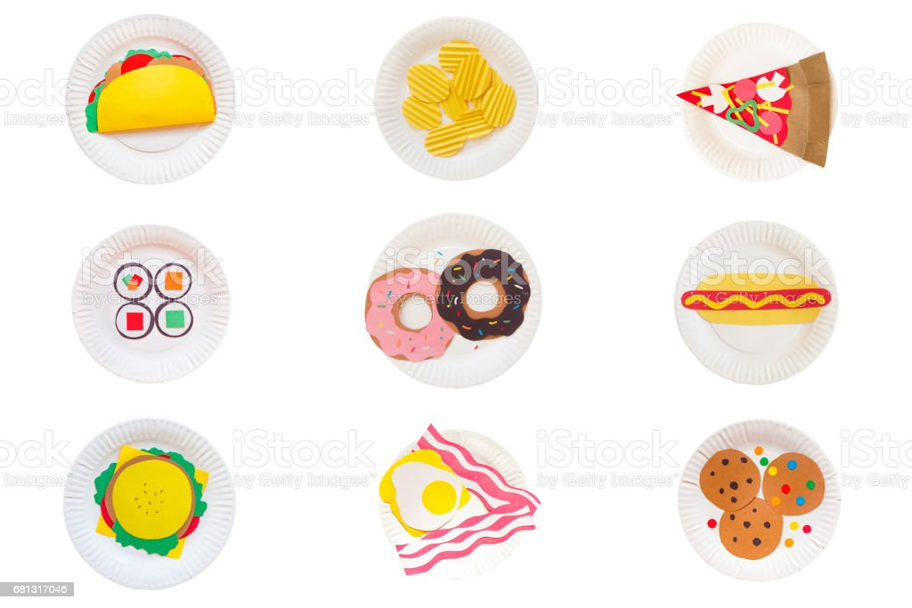 set of 9 plates with fast food. Taco, chips, pizza, sushi, donuts, hot dog, burger, toast, cookies made of colored paper on a disposable plate stock photo