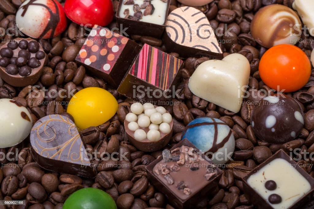 Set of a various chocolate pralines and coffee beans royalty-free stock photo