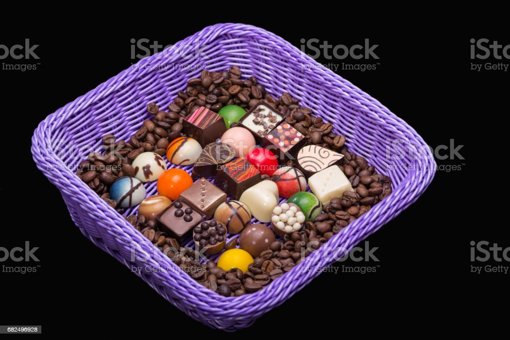 Set of a various chocolate pralines and coffee beans Стоковые фото Стоковая фотография