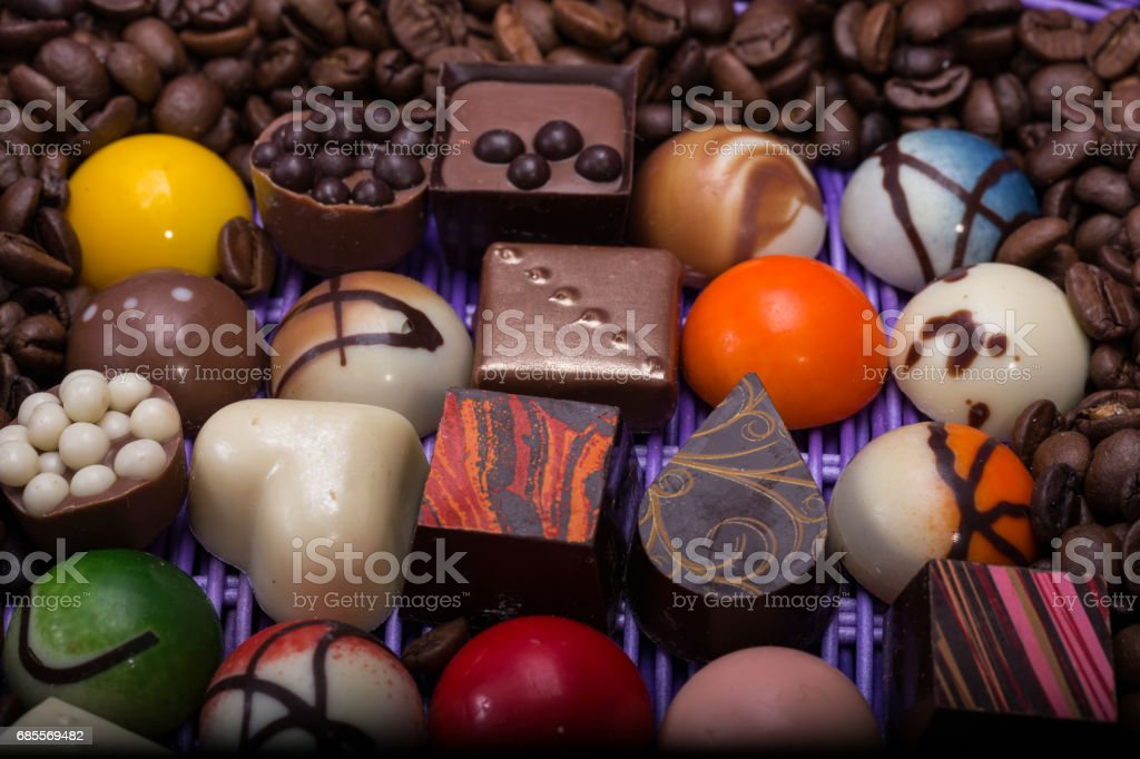 Set of a various chocolate pralines and coffee beans royalty-free 스톡 사진