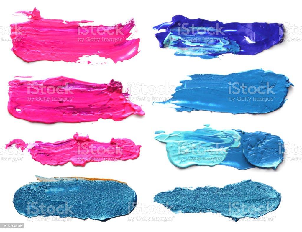 Set of abstract acrylic brush strokes. stock photo