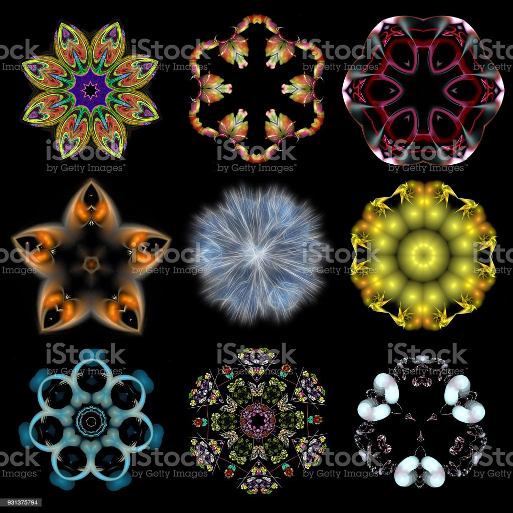 Set of abstract colored patterns on black isolated background stock photo