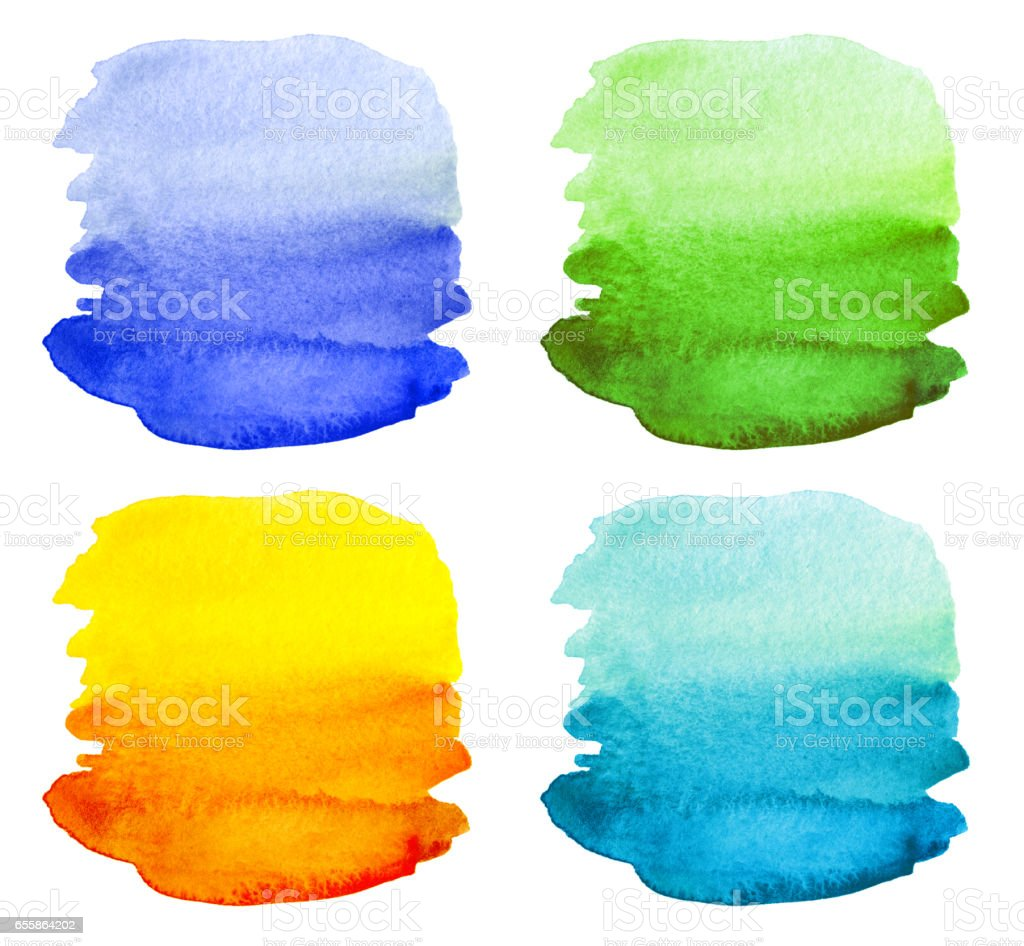 Set of Abstract watercolor painted background isolated. stock photo
