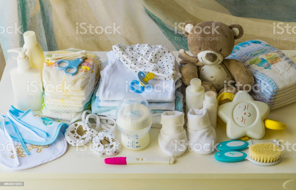 set of accessories for baby, newborn items stock photo