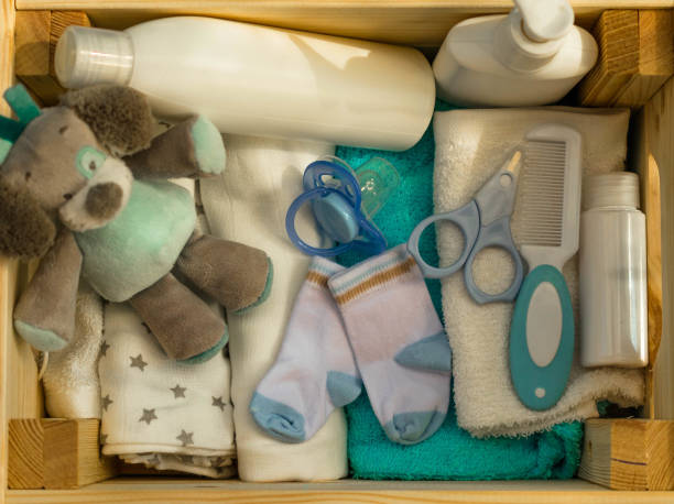 Set of accessories for baby stock photo