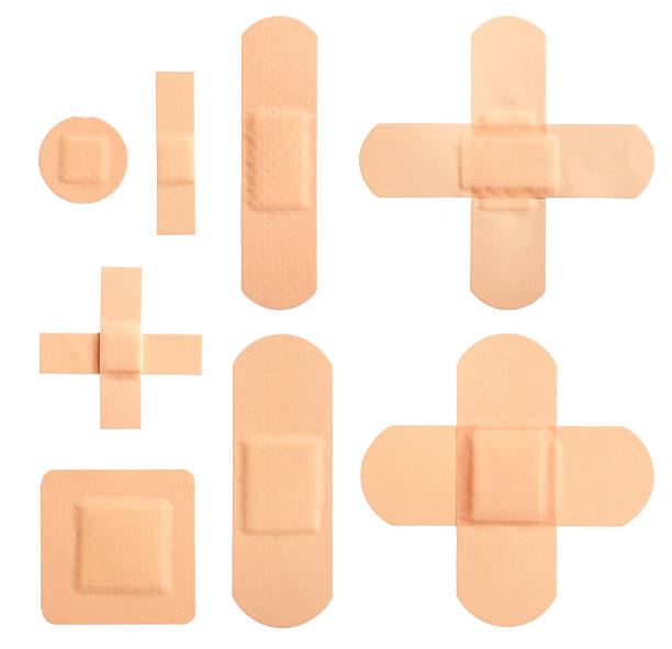 Set of adhesive plasters stock photo