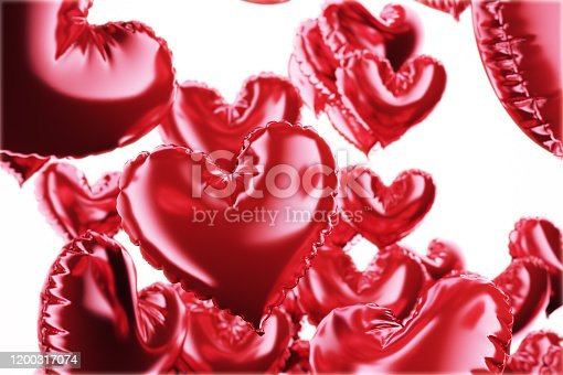 1035635902 istock photo Set of Air Balloons. Bunch of red color heart shaped foil balloons isolated on white background. Love. Holiday celebration. Valentine's Day party decoration. Metallic red colour Heart 3d render. 1200317074