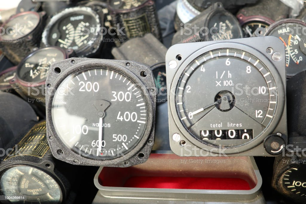 Set of aircraft instruments Vintage background airspeed indicators Mach number indicator and accelerometer stock photo