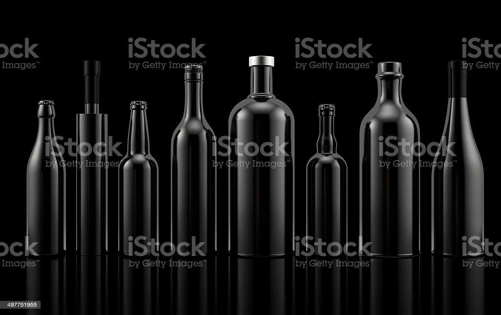 Set of alcohol bottles stock photo