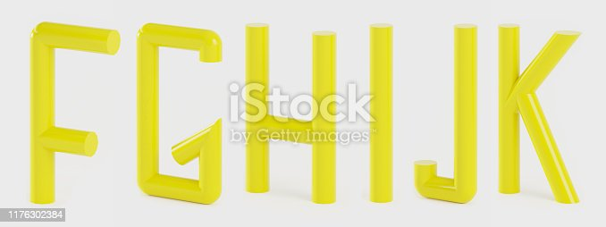 Set of capital letters alphabet  in a tubular style in yellow- 3D illustration