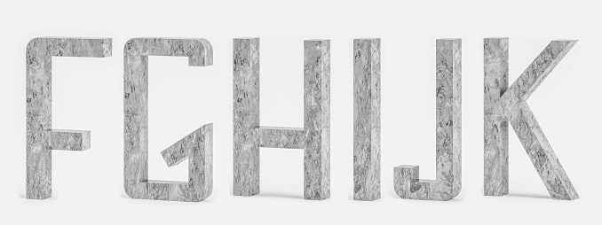 istock Set of alphabet letters FGHIJK in concrete style - 3D illustration 1176301309