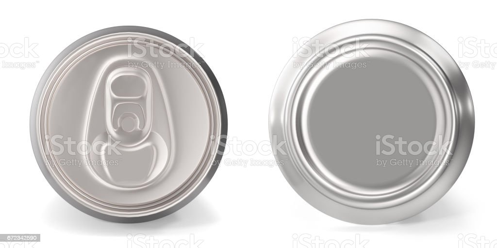 Set of aluminum cans close-up, on white background, 3d rendering stock photo
