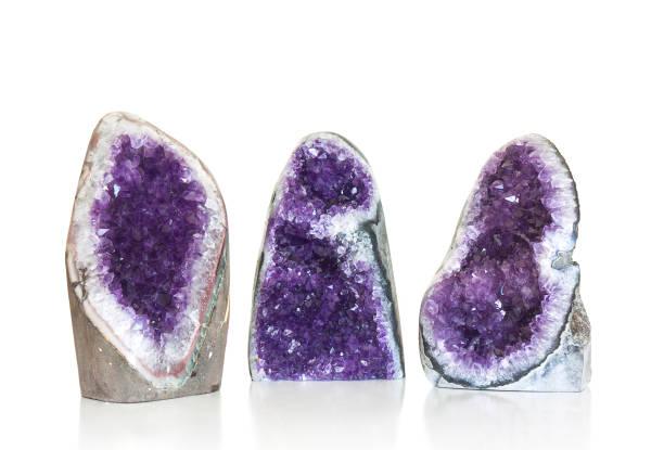 Amethyst Kristall auf weiß Set – Foto