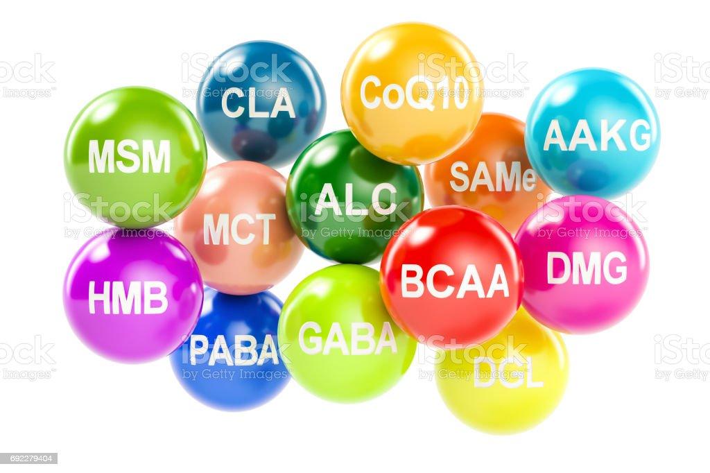 Set of amino acids. AAKG, ALC, BCAA, CLA, CoQ10, GABA, DGL, HMB, MCT, MSM, SAMe, DMG, PABA, 3D rendering isolated on white background stock photo