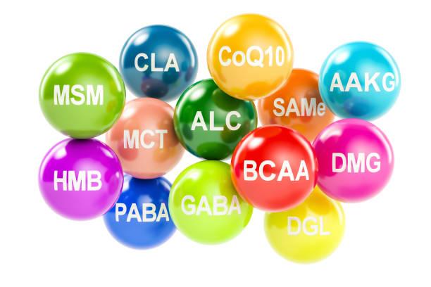 Set of amino acids. AAKG, ALC, BCAA, CLA, CoQ10, GABA, DGL, HMB, MCT, MSM, SAMe, DMG, PABA, 3D rendering isolated on white background Set of amino acids. AAKG, ALC, BCAA, CLA, CoQ10, GABA, DGL, HMB, MCT, MSM, SAMe, DMG, PABA, 3D rendering isolated on white background amino acid stock pictures, royalty-free photos & images