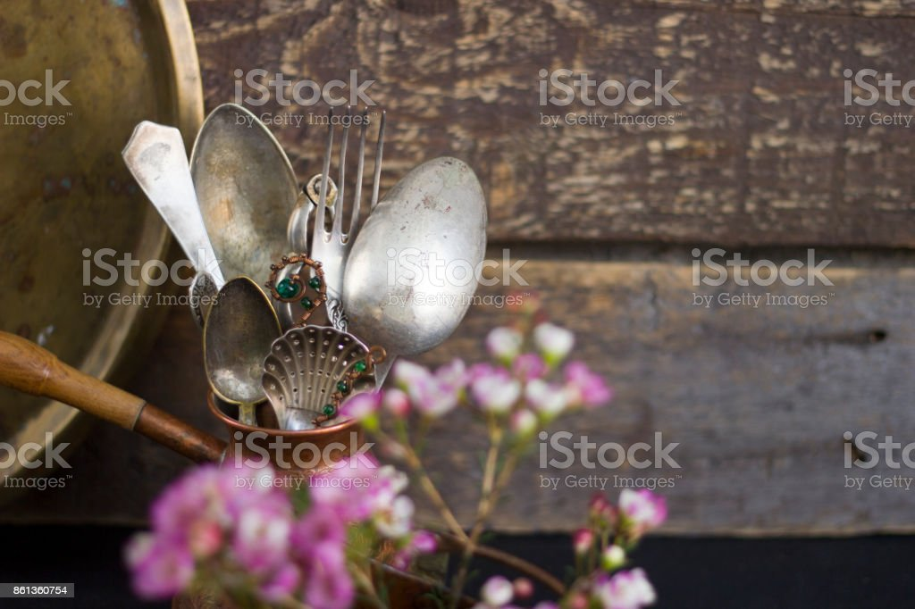 A set of antique cutlery stock photo