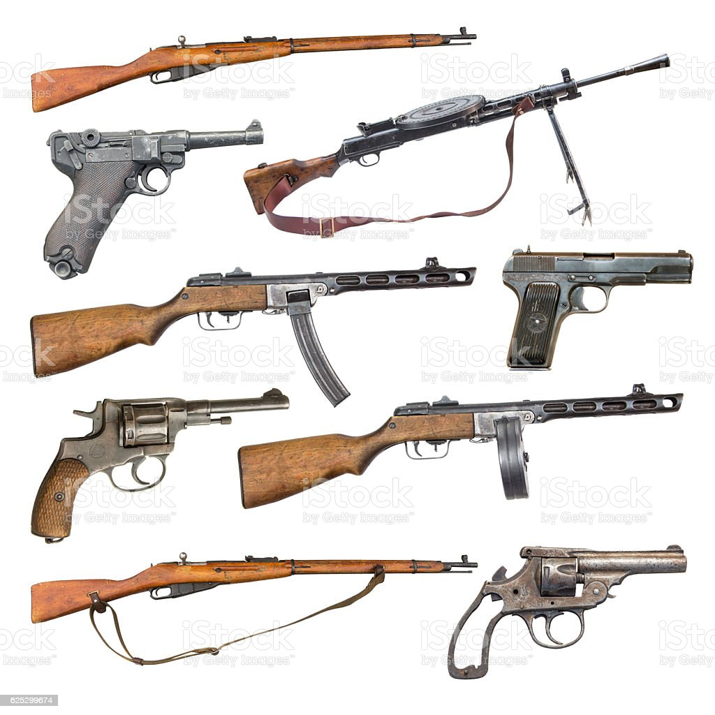 set of antique firearms weapons stock photo