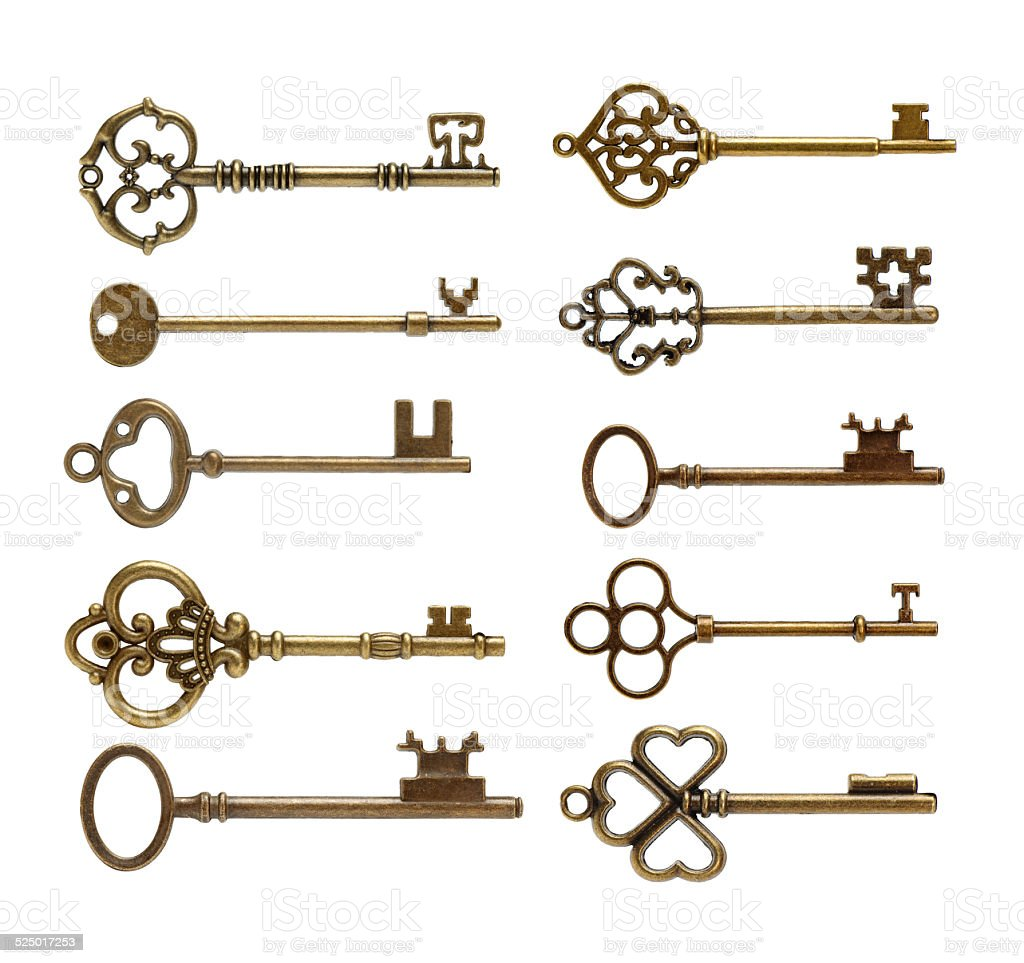 Set of Antique Keys stock photo