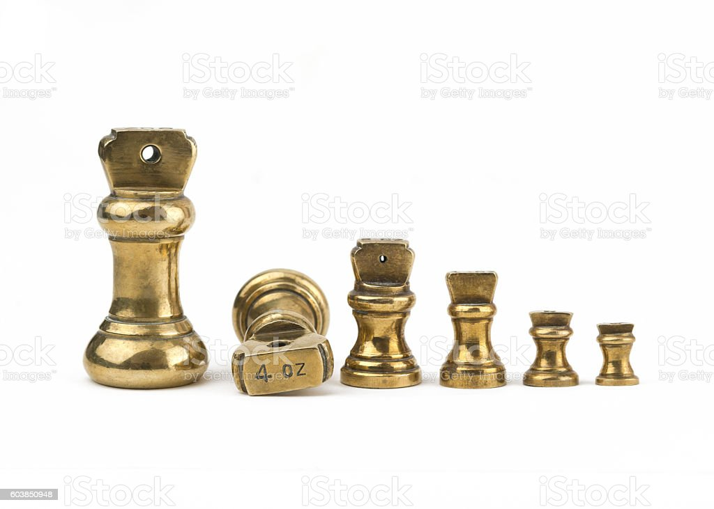set of antiques brass imperial weights stock photo