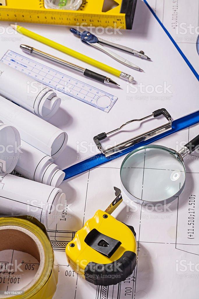 set of architect tools on blueprint royalty-free stock photo