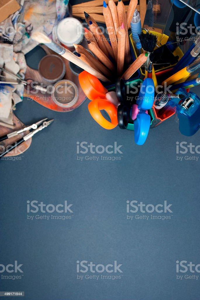 Set of art tools. stock photo