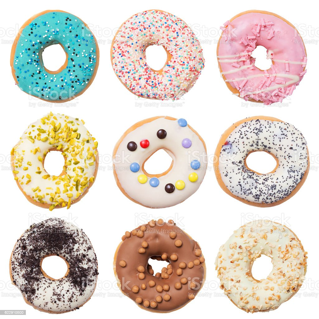Set of assorted donuts isolated on white background stock photo