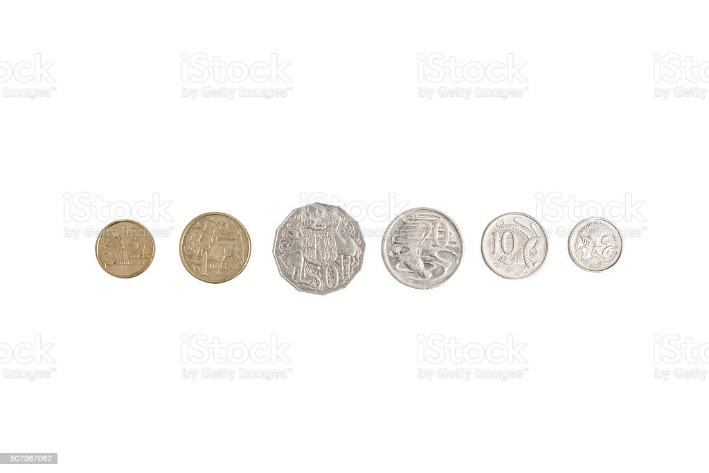 Set of Australian Coins (with clipping path) stock photo