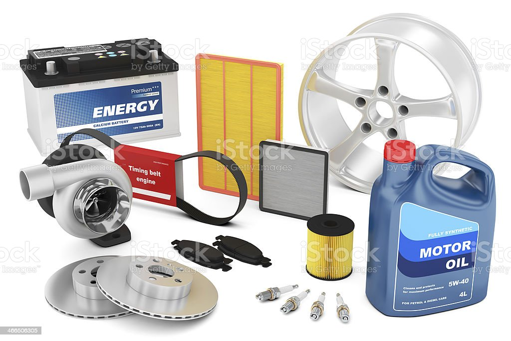 Set of auto parts stock photo