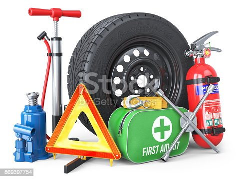 istock A set of automotive accessories. Spare wheel, fire extinguisher, first aid kit, emergency warning triangle, jack, tow rope, wheel wrench, pump. 869397754