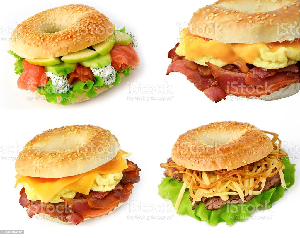Set of bagel sandwiches for breakfast stock photo