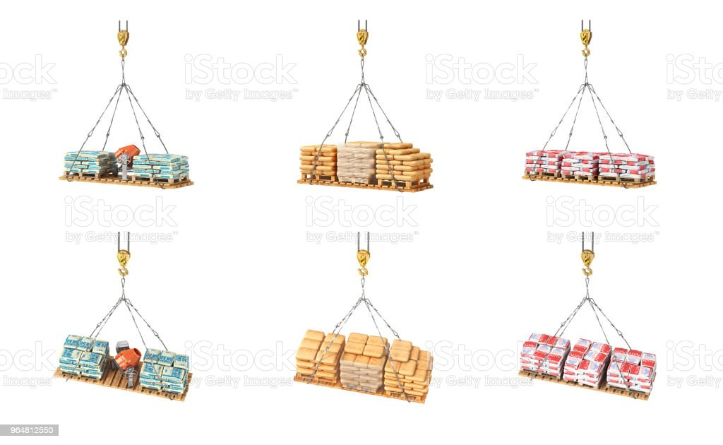 Set of bags with building materials on the crane 3d illustration royalty-free stock photo