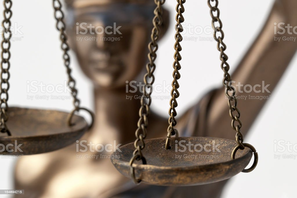 A set of balancing scales, bronze royalty-free stock photo