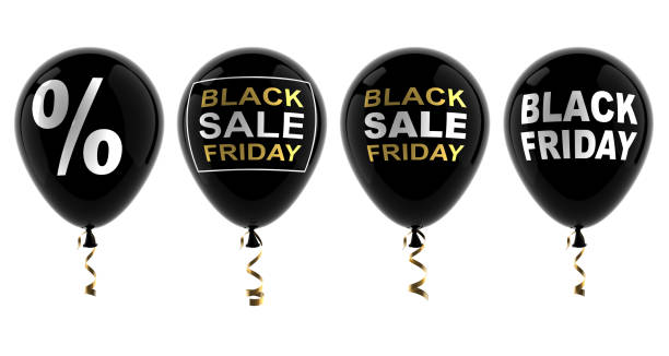Set of balloons with the words black friday, sale, percentage stock photo