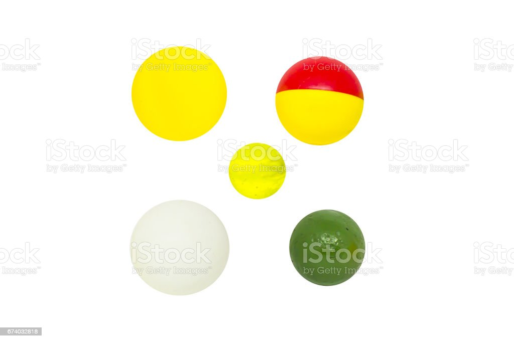 Set of balls for playing table tennis or ping pong, isolated royalty-free stock photo