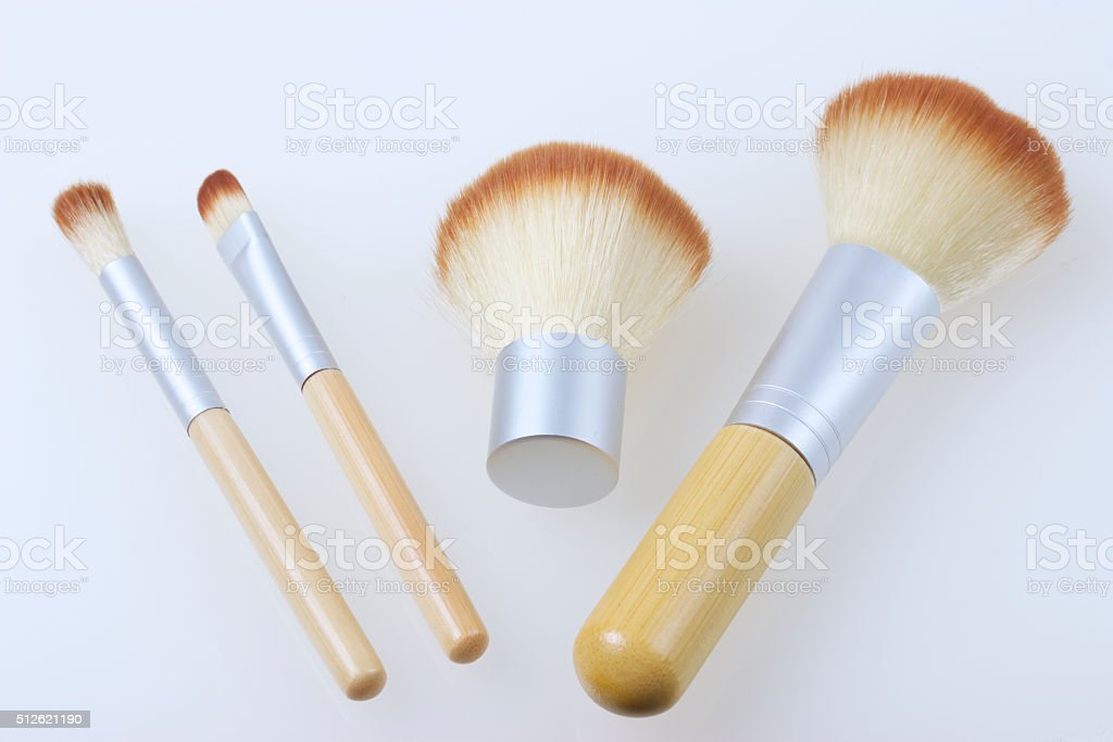 Set of bamboo brushes for applying makeup stock photo