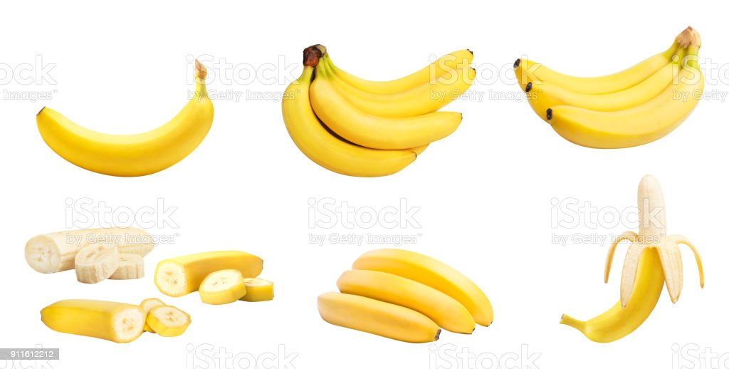 Set of bananas isolated stock photo